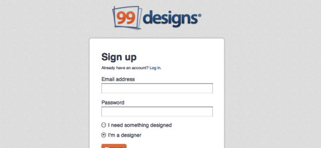 99designs - Designer Sign Up